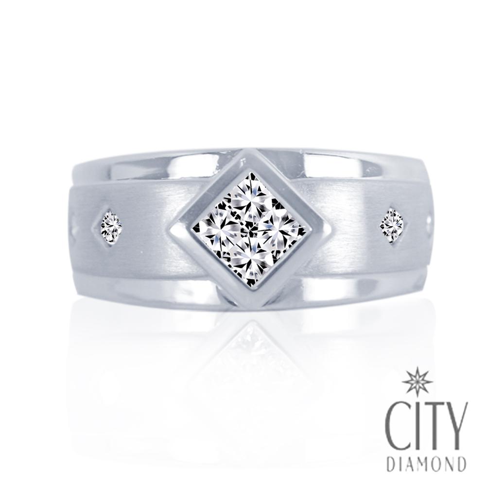 City Diamond引雅【Vintage系列】-寬版造型鑽石戒指(男)