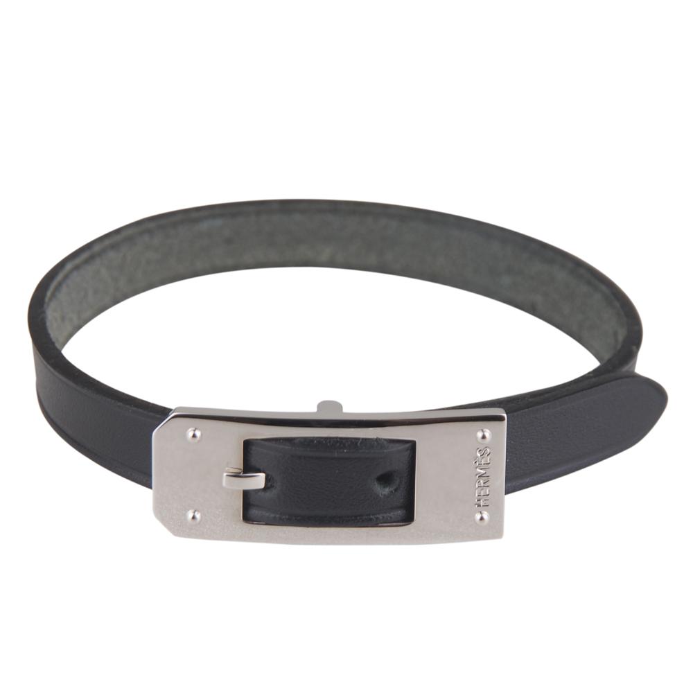 HERMES 質感牛皮打造單圈手環(黑/光亮銀扣)