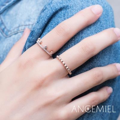 Angemiel安婕米 925純銀戒指組合-玫瑰金