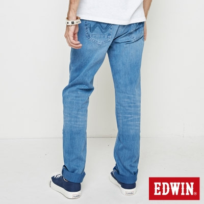 EDWIN 大尺碼直筒褲迦績褲JERSEYS棉感直筒褲-男-重漂藍