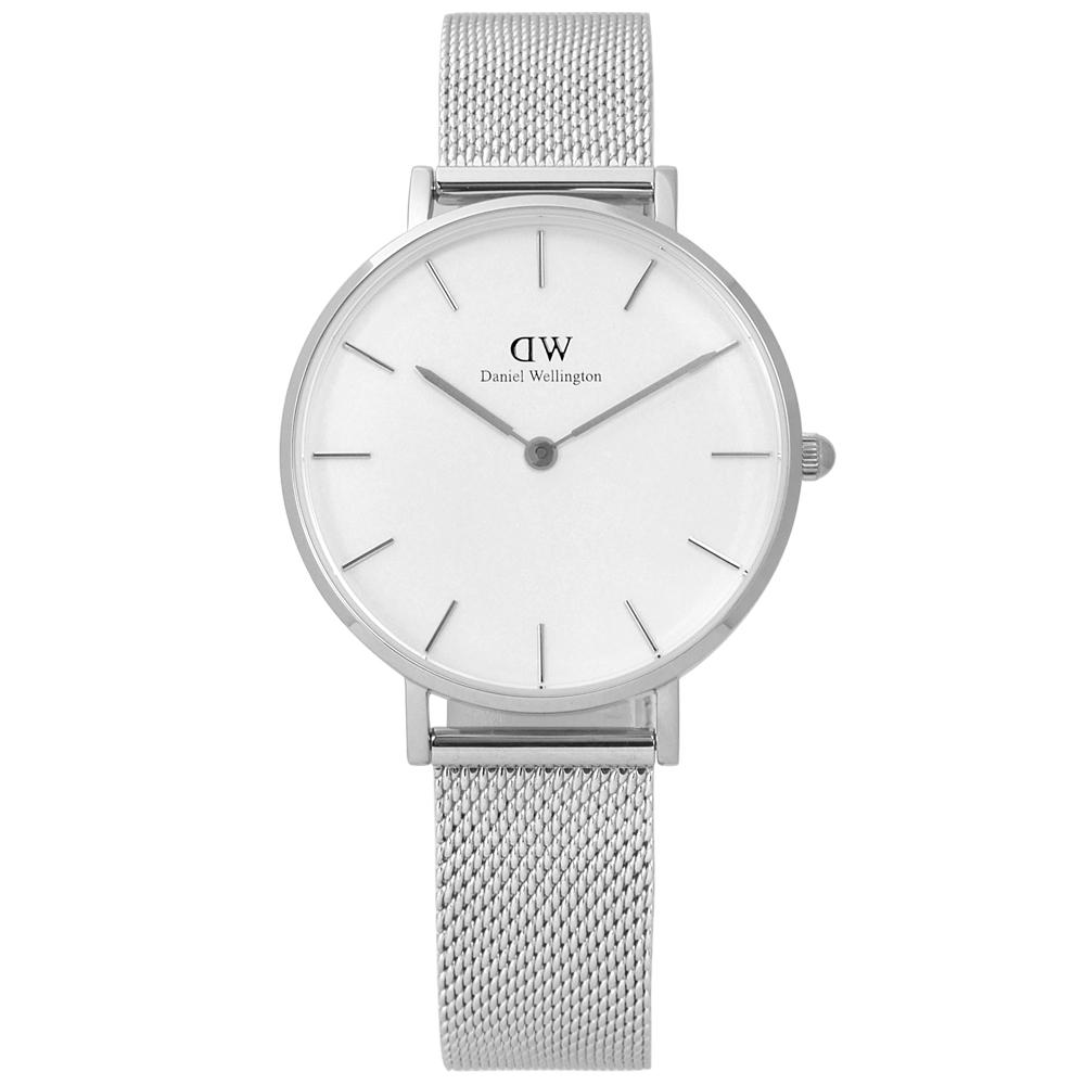 Daniel Wellington Classic米蘭編織不鏽鋼手錶-白色/32mm