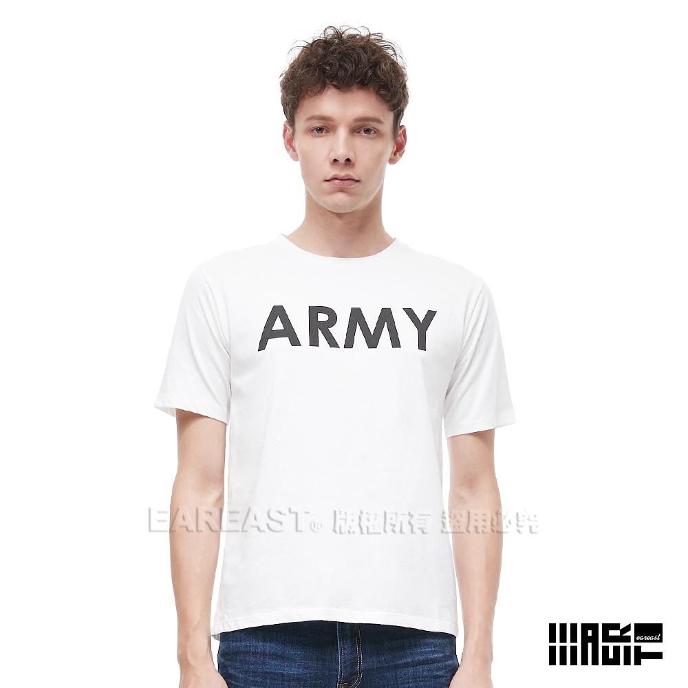 EAR EAST男款ARMY印花圓領短袖上衣-米白-動態show