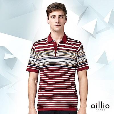 歐洲貴族oillio 短袖線衫 POLO領設計 細條紋拼色 紅色
