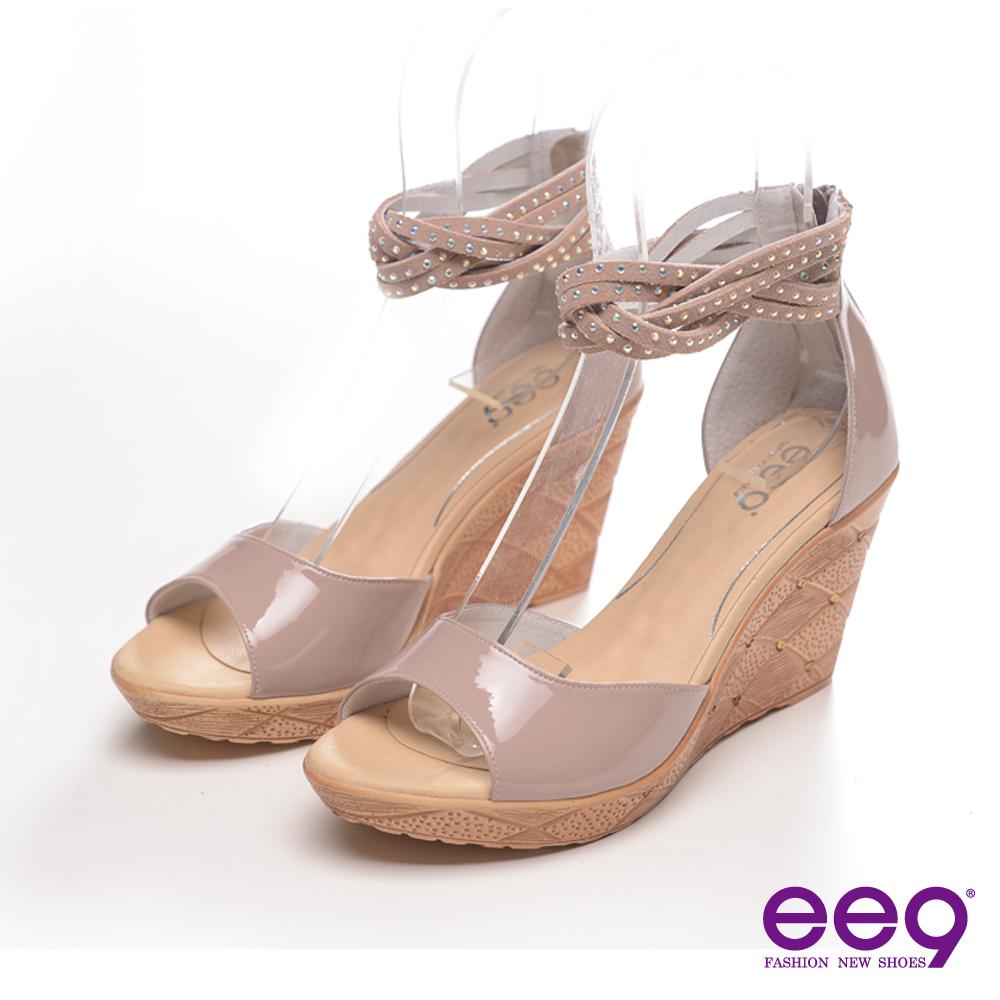 ee9心滿益足~漆皮鑽飾羅馬楔型魚口涼鞋~百搭裸