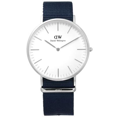 DW Daniel Wellington Classic 經典尼龍手錶-白x藍/40mm