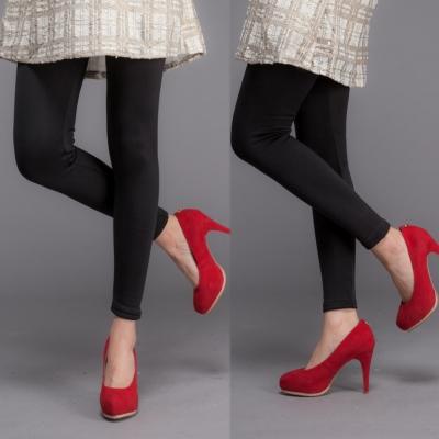 中大尺碼 素面黑內裡搖粒絨保暖彈性厚棉內搭褲-La Belleza