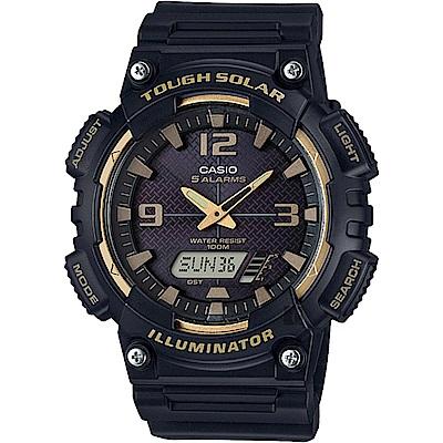 CASIO卡西歐 太陽能電力雙顯錶-黑金(AQ-S810W-1A3VDF)