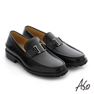 A.S.O 3D超動能 職場通勤真皮奈米紳士鞋 黑色