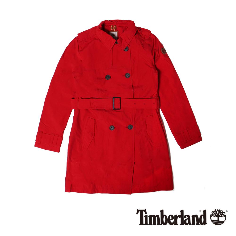 Timberland 女款紅色防水長版風衣外套