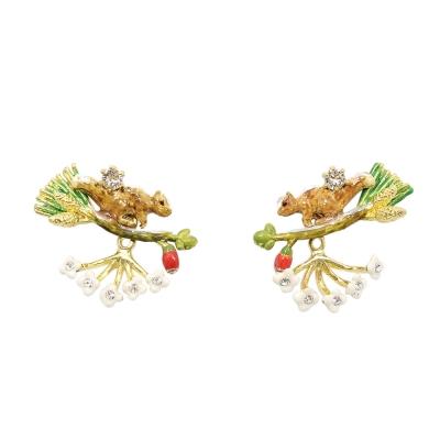 Les Nereides 動物花園系列 神秘雪花松鼠花瓣耳環 耳針式
