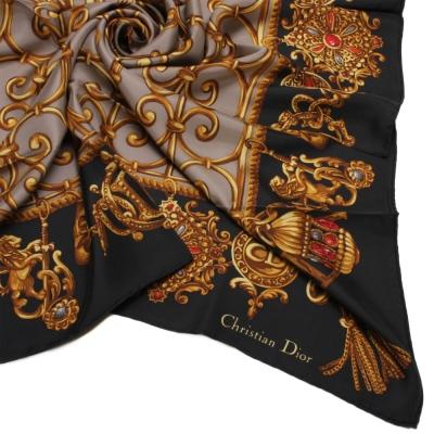 Christian Dior 皇家金飾圖紋大領巾-黑色