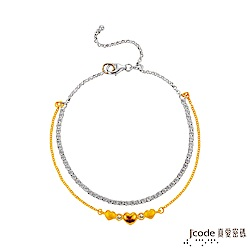 J'code真愛密碼 相愛相親黃金/純銀手鍊-雙鍊款