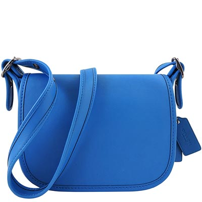 COACH 藍色皮革壓紋小型斜背包