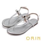ORIN 夏日時尚風 大圓點金箔T字牛皮夾腳涼鞋-銀色