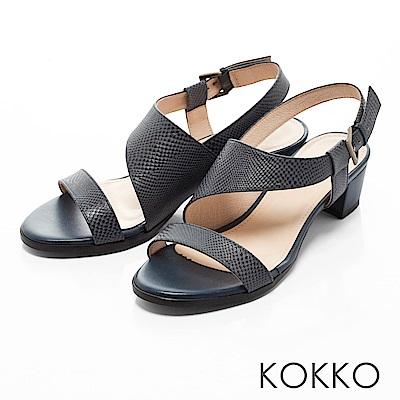 KOKKO-夢醒時分真皮交叉帶粗跟涼鞋-午夜藍