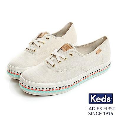 Keds TRIPLE 渡假旅程厚底綁帶帆布鞋-米/金