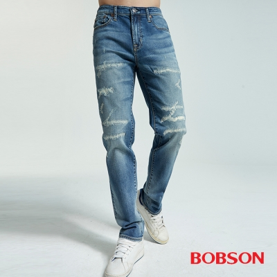 BOBSON 男款低腰有機棉補丁直筒褲