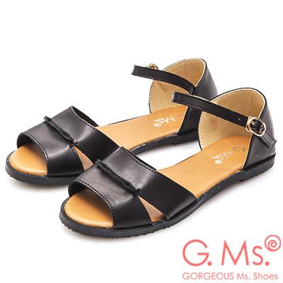 G.Ms. 日系簡約風平底涼鞋-黑色