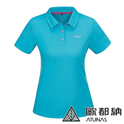 【ATUNAS 歐都納】女款POLARTEC防曬短袖POLO衫A-P1818W天藍