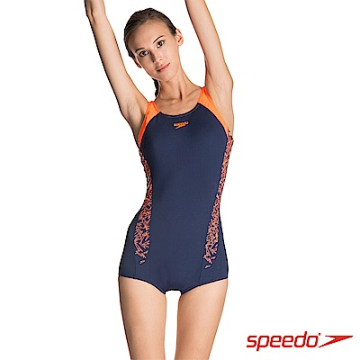 SPEEDO 女 運動連身平口泳裝 Boom Splice ELL 藍橘