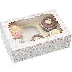 Sweetly 六格瑪芬蛋糕紙盒2入(午茶粉)