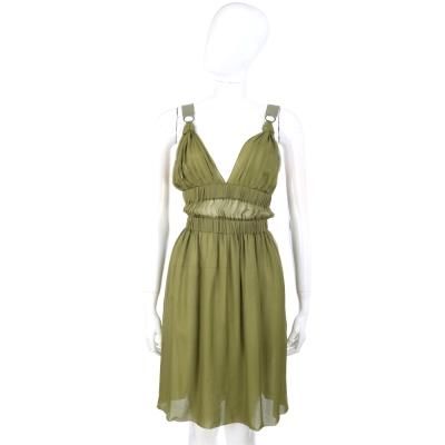 PHILOSOPHY 綠色皺褶紗質V領洋裝