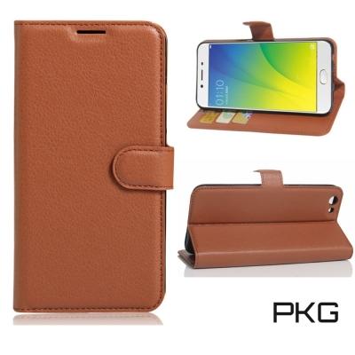 PKG OPPO A77 皮套-側翻磁扣-棕色
