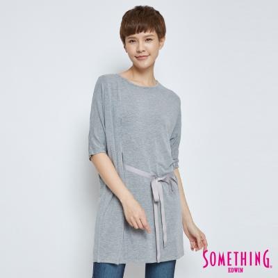 SOMETHING 腰部抽繩長版T恤-女-灰色
