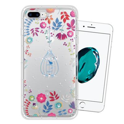 WT iPhone 8 Plus/ 7 Plus 奧地利水晶彩繪空壓手機殼(鳥羽...