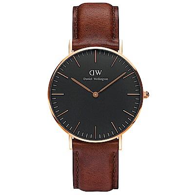 DW Daniel Wellington 褐咖腕錶-金框/36mm(DW00100136)