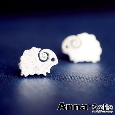 AnnaSofia-捲角小綿羊磨砂感-925純銀耳針耳環