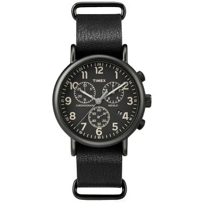 TIMEX-Weekender Chrono三眼計時手錶-全黑-40mm