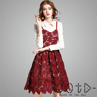 翻領長袖襯衫裙+細肩鏤空蕾絲裙兩件套 (紅色)-OOTD