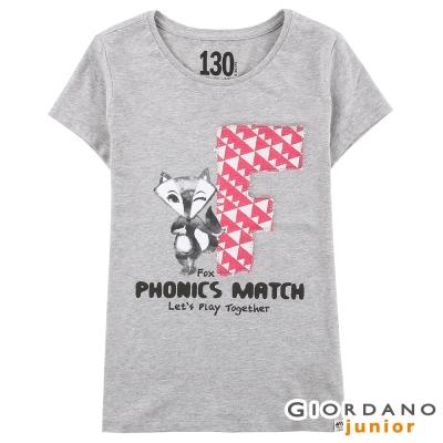 GIORDANO-女童動物字母純棉印花TEE-22