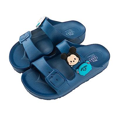 迪士尼童鞋 TsumTsum 米奇怪獸 輕量防水拖鞋-藍