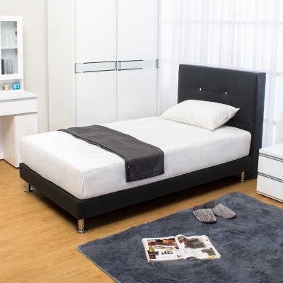 Bernice 貝塔絲3.5尺黑色皮革單人床組 床頭片+床底 不含床墊