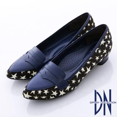 DN-最愛MIT-真皮拼接異材質微尖樂福鞋-藍