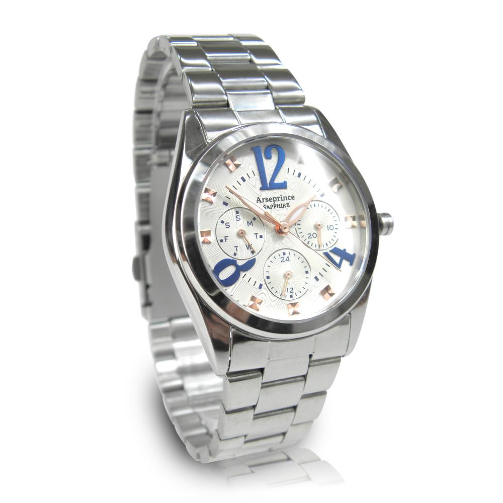 Arseprince 方刻晶鑽時尚三眼中性錶-藍白28mm