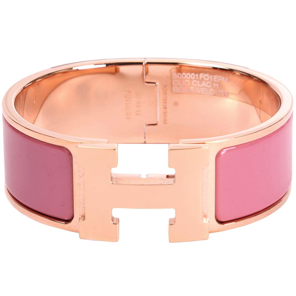 (無卡分期12期)HERMES Clic Clac H PM 經典LOGO設計手環(粉x玫瑰金)
