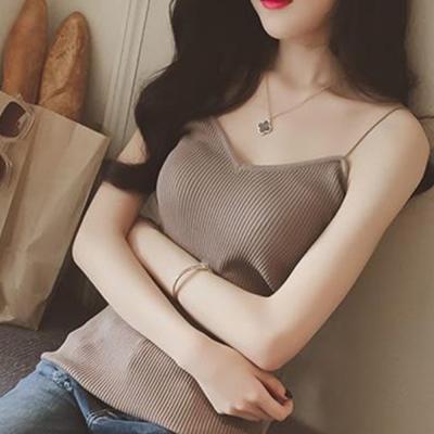 中大尺碼 細肩吊帶羅紋彈性針織背心XL~3L-Ballet Dolly