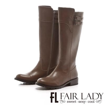 Fair Lady 經典呈現雙飾扣帶長靴 灰