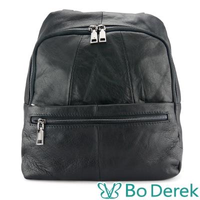 Bo Derek 經典多口袋牛皮後背包-黑