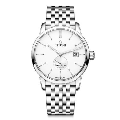 TITONI瑞士梅花錶 天星系列(83638 S-606)-白/不鏽鋼錶帶/40mm