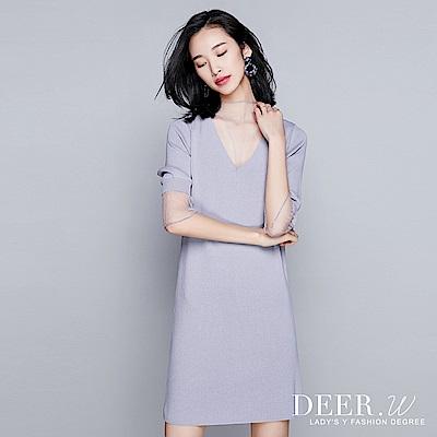 DEER.W V領網紗拼接七分袖針織洋裝(共三色)