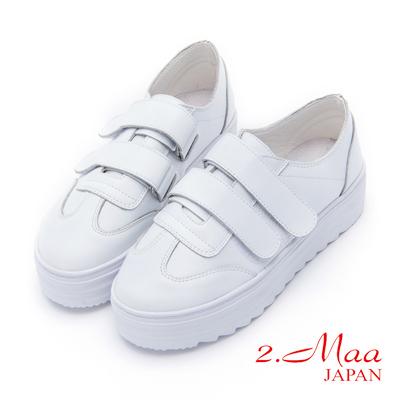 2.Maa 簡約雙魔鬼氈牛皮厚底休閒小白鞋 - 白