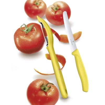 VICTORINOX瑞士維氏 蔬果刀+直立式削皮刀-黃