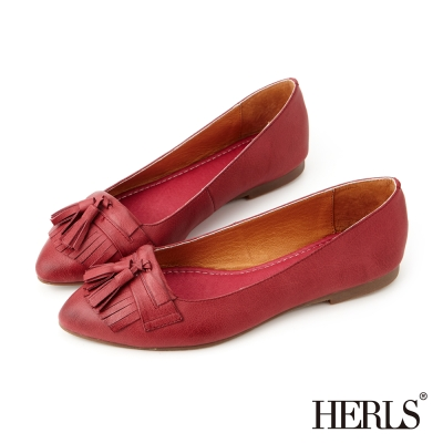 HERLS-全真皮復古流蘇樂福鞋-酒紅
