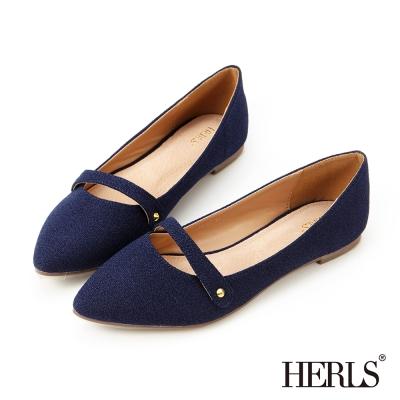 HERLS 內真皮英倫絨布樂福鞋-藍色