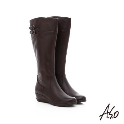 A.S.O 優雅時尚 真皮寬口飾釦拼接楔型長靴 咖啡色