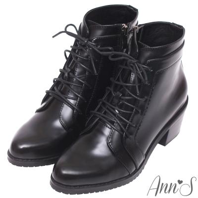 Ann'S質感帥氣光澤皮革綁帶牛津粗跟短靴-黑